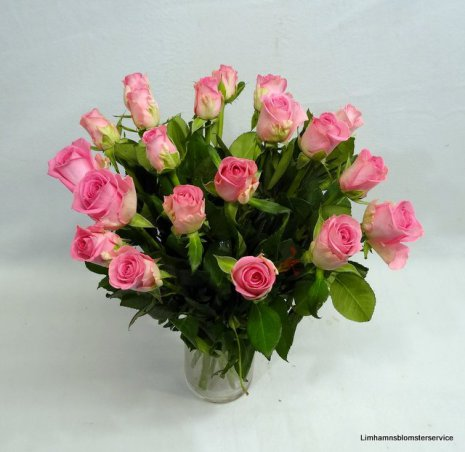 Bukett med rosa rosor